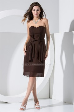 Knee-Length Sweetheart Sheath/Column Chiffon Short Bridesmaid Dresses 02010308