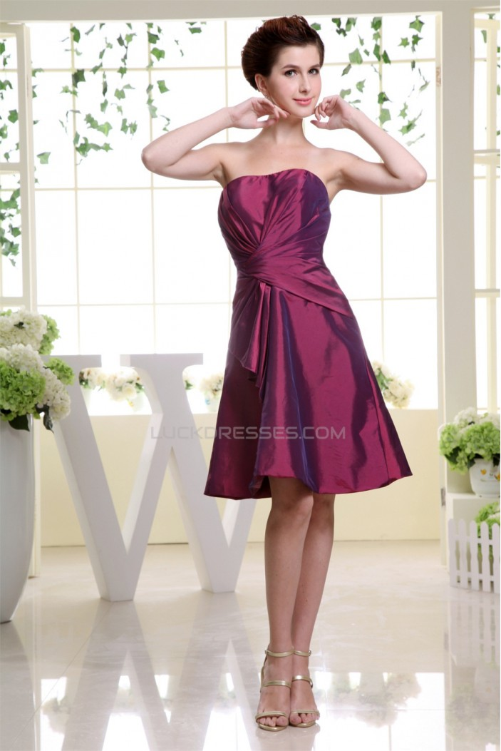 A-Line Sleeveless Soft Sweetheart Taffeta Short Bridesmaid Dresses 02010311