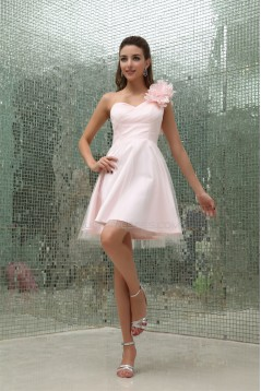 A-Line Short/Mini Sleeveless One-Shoulder Short Pink Bridesmaid Dresses 02010312