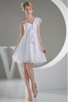 A-Line Short/Mini Sleeveless One-Shoulder Short White Bridesmaid Dresses 02010313