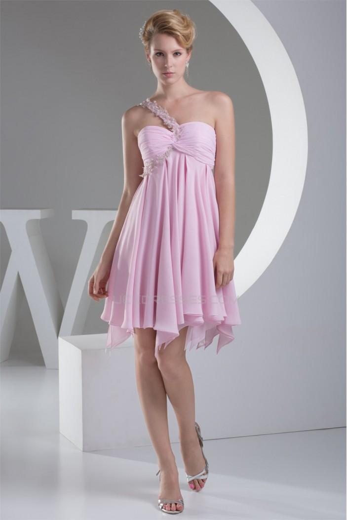 A-Line Short/Mini One-Shoulder Chiffon Short Pink Bridesmaid Dresses Maternity Dresses 02010315