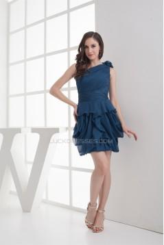 One-Shoulder Short/Mini Sleeveless Handmade Flowers Bridesmaid Dresses 02010318