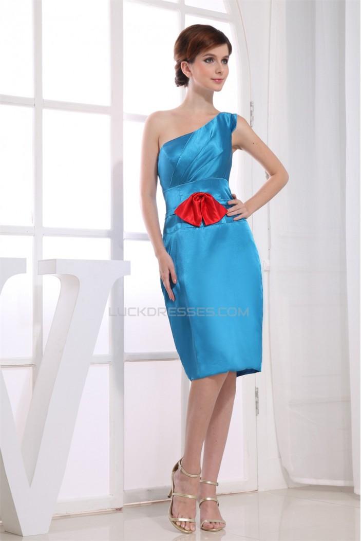 One-Shoulder Silk like Satin Bows Sheath/Column Short Blue Bridesmaid Dresses 02010319