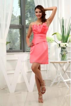 Pleats Sleeveless Strapless Satin Sheath/Column Short Bridesmaid Dresses 02010321