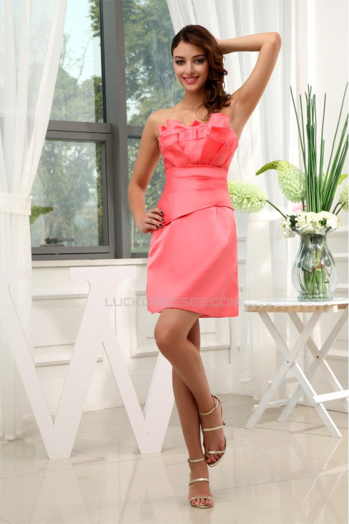 Pleats Sleeveless Strapless Satin Sheath/Column Short Bridesmaid Dresses 02010321