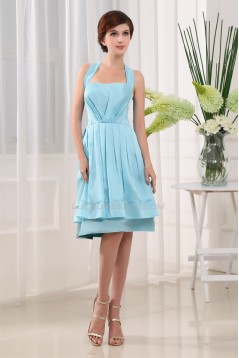 A-Line Sleeveless Ruffles Knee-Length Halter Short Blue Bridesmaid Dresses 02010322