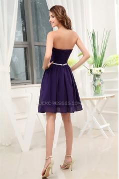 A-Line Soft Sweetheart Ruffles Chiffon Short Purple Bridesmaid Dresses 02010323
