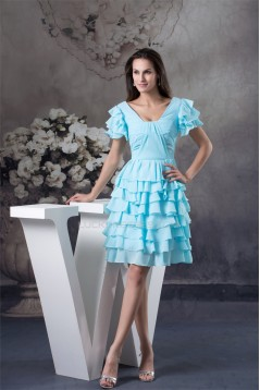 Ruffles Knee-Length Chiffon Short Blue Bridesmaid Dresses 02010324