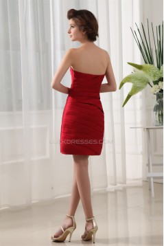 Ruffles Sheath/Column Satin Sleeveless Short Red Bridesmaid Dresses 02010325