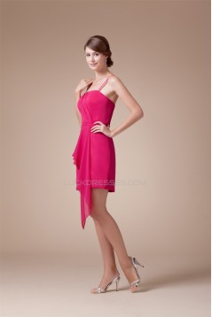 Ruffles Sheath/Column Spaghetti Strap Short/Mini Sleeveless Bridesmaid Dresses 02010326