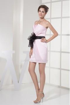 Satin Organza Sheath/Column Short/Mini Best Pink Bridesmaid Dresses 02010330