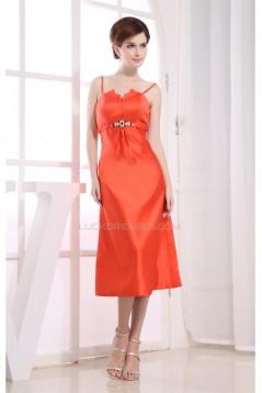 Satin Spaghetti Straps Sleeveless A-Line Bridesmaid Dresses 02010333
