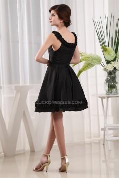 A-Line Ruffles Taffeta Scoop Knee-Length Short Black Bridesmaid Dresses 02010334