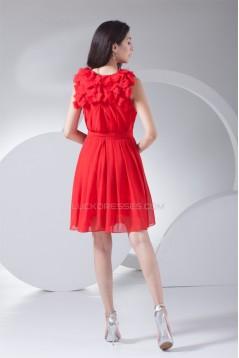 Short/Mini Scoop Ruffles Chiffon Short Red Bridesmaid Dresses 02010335