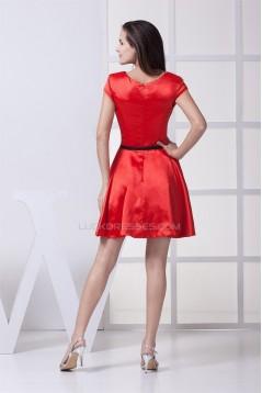Scoop Short/Mini Ruffles A-Line Capped Sleeves Bridesmaid Dresses 02010336