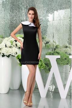 Sheath/Column Lapel Short/Mini Short Black White Bridesmaid Dresses 02010338
