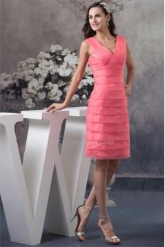 Sheath/Column Pleats V-Neck Organza Knee-Length Short Bridesmaid Dresses 02010339