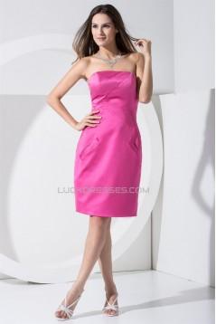 Sheath/Column Strapless Elastic Woven Satin Bridesmaid Dresses 02010341