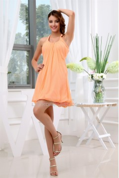 Short/Mini A-Line Halter Ruffles Sleeveless Bridesmaid Dresses 02010343