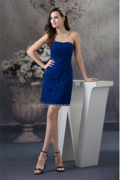 Short/Mini Chiffon Strapless Sheath/Column Short Blue Bridesmaid Dresses 02010345