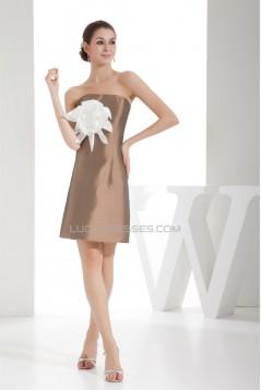 Short/Mini Handmade Flowers Taffeta Sleeveless Bridesmaid Dresses 02010347