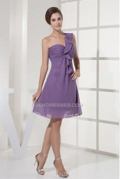 A-Line Ruched Chiffon Short/Mini One-Shoulder Best Bridesmaid Dresses 02010348