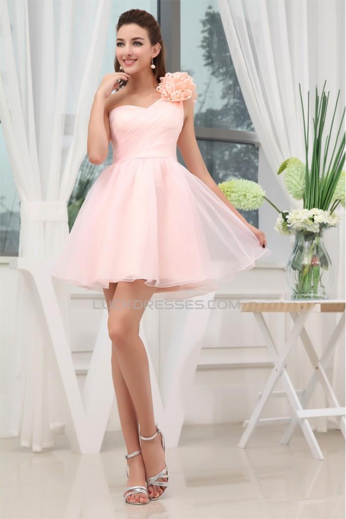 Short/Mini One-Shoulder Sleeveless Handmade Flowers Short Pink Bridesmaid Dresses 02010349