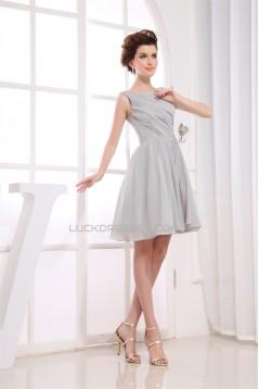 A-Line Short/Mini Pleats Sleeveless Bateau Bridesmaid Dresses 02010350
