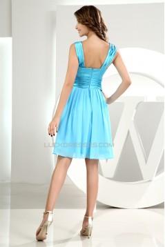 Short/Mini Ruffles A-Line Chiffon Elastic Woven Satin Bridesmaid Dresses 02010351