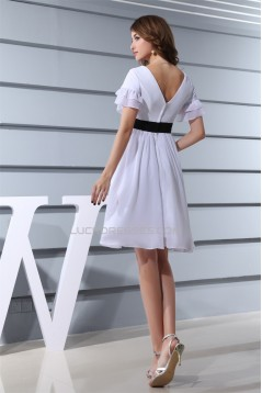 A-Line V-Neck Short/Mini Short Sleeves White Chiffon Bridesmaid Dresses 02010352