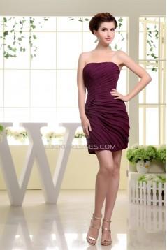 Short/Mini Sheath/Column Chiffon Bridesmaid Dresses 02010353