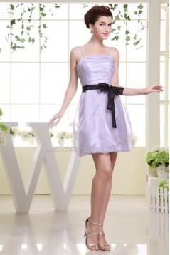 Short/Mini Square Organza Ruched Bridesmaid Dresses 02010357