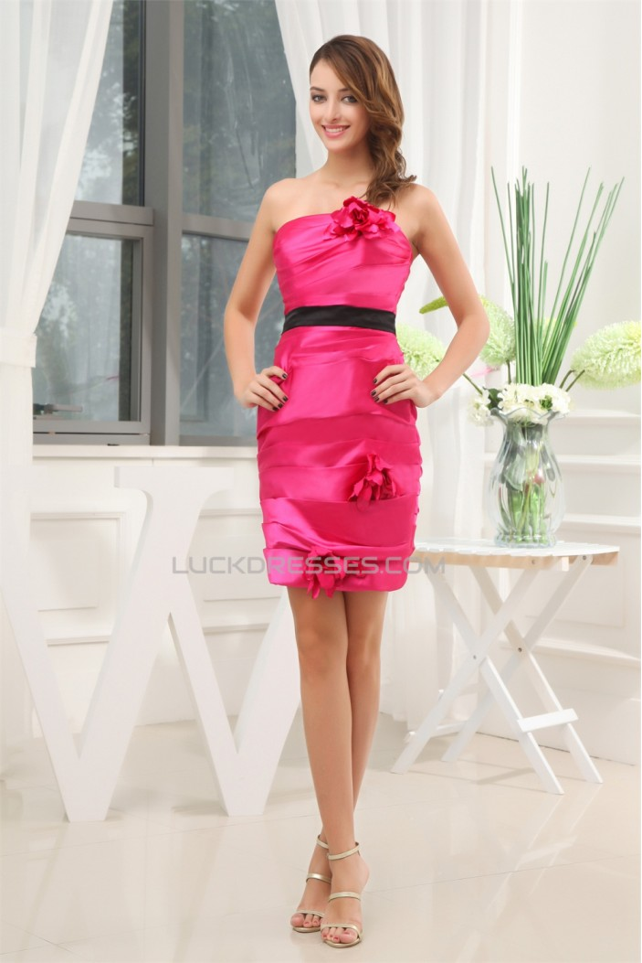 Short/Mini Strapless Sleeveless Sheath/Column Bridesmaid Dresses 02010358