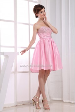 A-Line Short/Mini Sweetheart Beaded Taffeta Sleeveless Pink Bridesmaid Dresses 02010359
