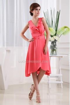Silk like Satin Satin Chiffon Ruffles V-Neck Bridesmaid Dresses 02010360