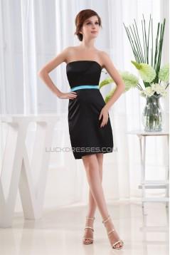 Simple Style Silk like Satin Sheath/Column Short/Mini Black Bridesmaid Dresses 02010361