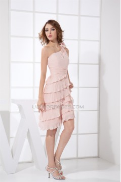 A-Line Short/Mini One-Shoulder Chiffon Pleated Pink Bridesmaid Dresses 02010364
