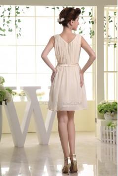 Sleeveless Ruffles Short/Mini Scoop A-Line Bridesmaid Dresses 02010367