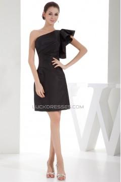 Sleeveless Sheath/Column One-Shoulder Knee-Length One-Shoulder Black Bridesmaid Dresses 02010368
