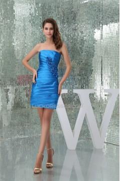 Sleeveless Strapless Sheath/Column Short/Mini Blue Bridesmaid Dresses 02010369