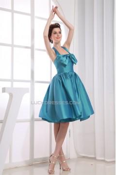 Sleeveless Taffeta Bows Halter Knee-Length Short Bridesmaid Dresses 02010370