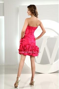 Sleeveless Taffeta Handmade Flowers A-Line Best Bridesmaid Dresses 02010371