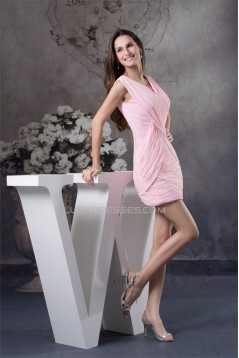 Sleeveless V-Neck Ruffles Sheath/Column Short Pink Bridesmaid Dresses 02010372