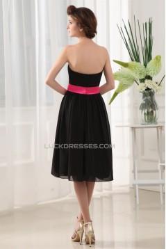 A-Line Soft Strapless Chiffon Short Black Bridesmaid Dresses 02010373