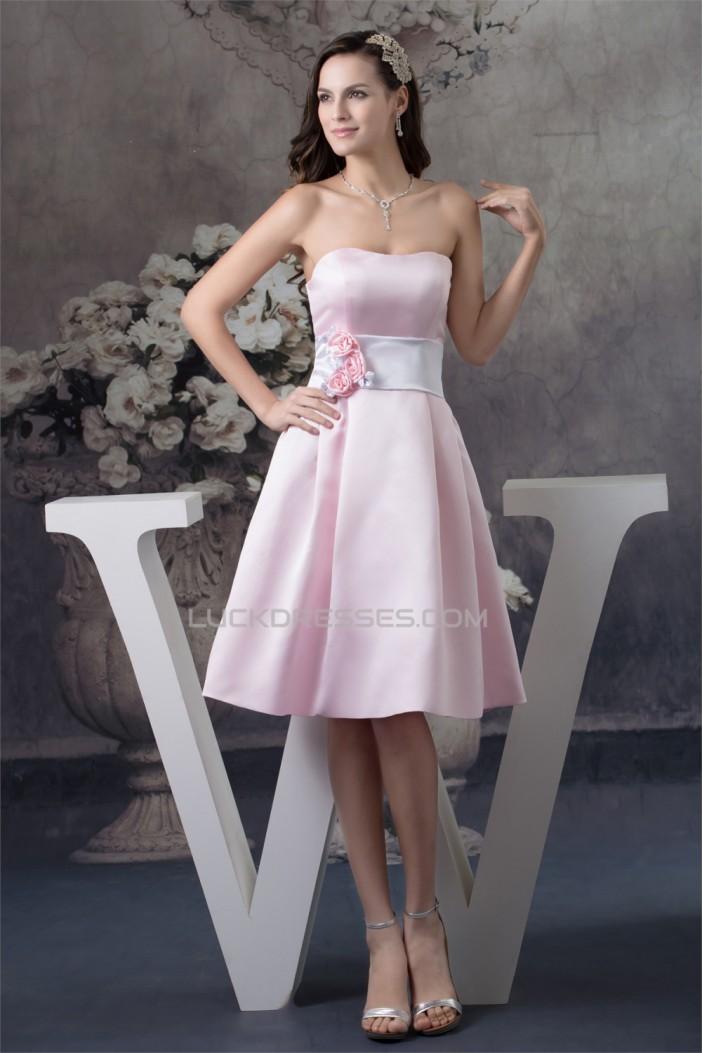 A-Line Strapless Soft Satin Handmade Flowers Short Pink Bridesmaid Dresses 02010374
