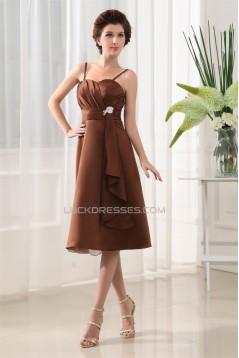 A-Line Ruffles Spaghetti Straps Sleeveless Short Bridesmaid Dresses 02010375