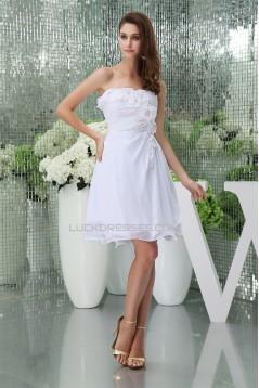A-Line Strapless Sleeveless Short/Mini White Bridesmaid Dresses 02010377