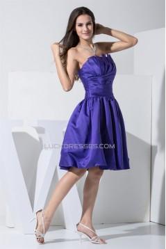 Strapless Satin Pleats Knee-Length Sleeveless Bridesmaid Dresses 02010378