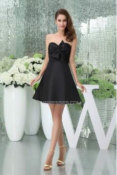 A-Line Sweetheart Knee-Length Ruffles Taffeta Short Black Bridesmaid Dresses 02010381