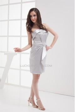 Short/Mini Beading Strapless Sleeveless Bridesmaid Dresses 02010385
